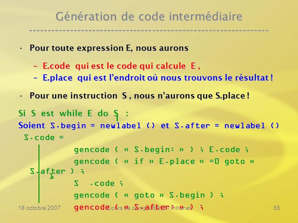18 octobre 2007Cours de compilation 7 - Intranet55 Génération de code intermédiaire ---------------------------------------------------------------- P
