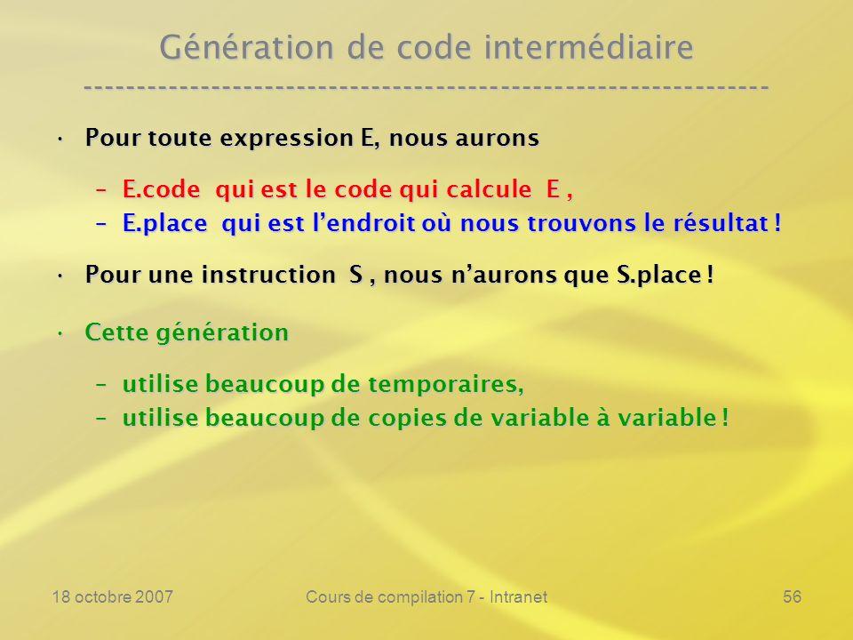 18 octobre 2007Cours de compilation 7 - Intranet56 Génération de code intermédiaire ---------------------------------------------------------------- P