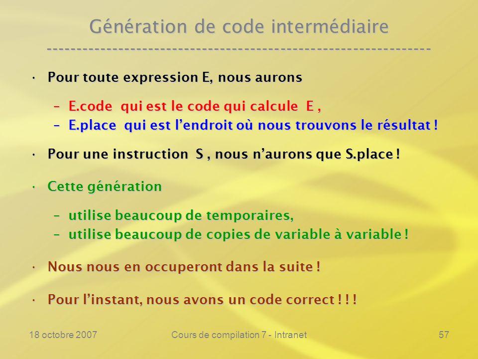 18 octobre 2007Cours de compilation 7 - Intranet57 Génération de code intermédiaire ---------------------------------------------------------------- Pour toute expression E, nous auronsPour toute expression E, nous aurons –E.code qui est le code qui calcule E, –E.place qui est lendroit où nous trouvons le résultat .