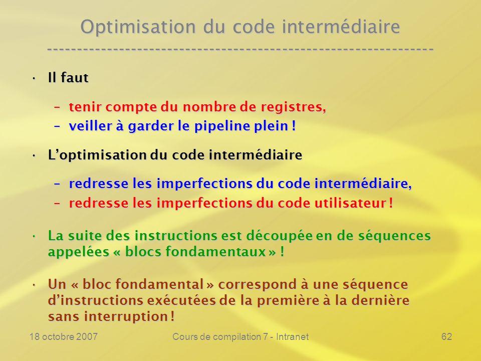 18 octobre 2007Cours de compilation 7 - Intranet62 Optimisation du code intermédiaire ----------------------------------------------------------------