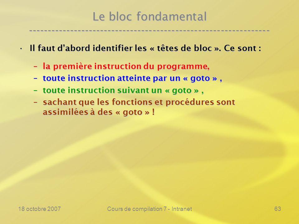 18 octobre 2007Cours de compilation 7 - Intranet63 Le bloc fondamental ---------------------------------------------------------------- Il faut dabord identifier les « têtes de bloc ».