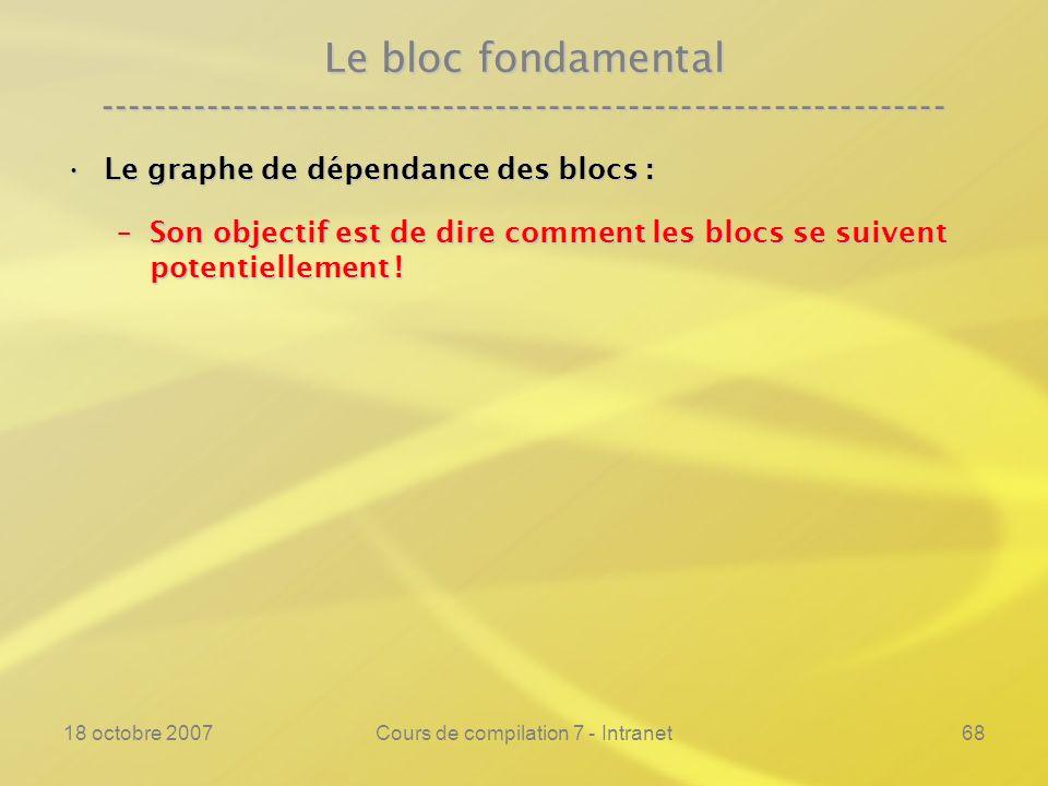 18 octobre 2007Cours de compilation 7 - Intranet68 Le bloc fondamental ---------------------------------------------------------------- Le graphe de dépendance des blocs :Le graphe de dépendance des blocs : –Son objectif est de dire comment les blocs se suivent potentiellement !