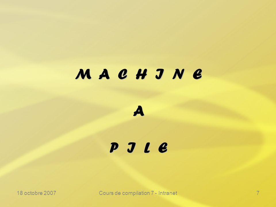 18 octobre 2007Cours de compilation 7 - Intranet28 Machine à pile ---------------------------------------------------------------- Bilan :Bilan : –La génération de code est très simple.