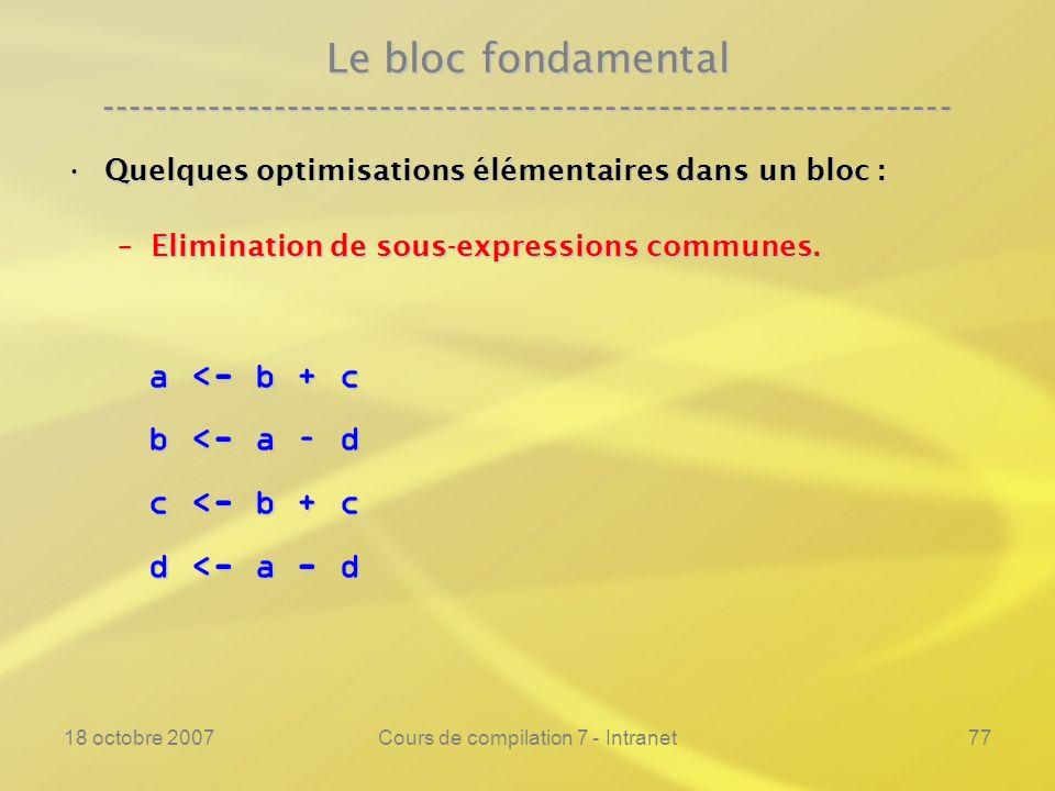 18 octobre 2007Cours de compilation 7 - Intranet77 Le bloc fondamental ---------------------------------------------------------------- Quelques optimisations élémentaires dans un bloc :Quelques optimisations élémentaires dans un bloc : –Elimination de sous-expressions communes.