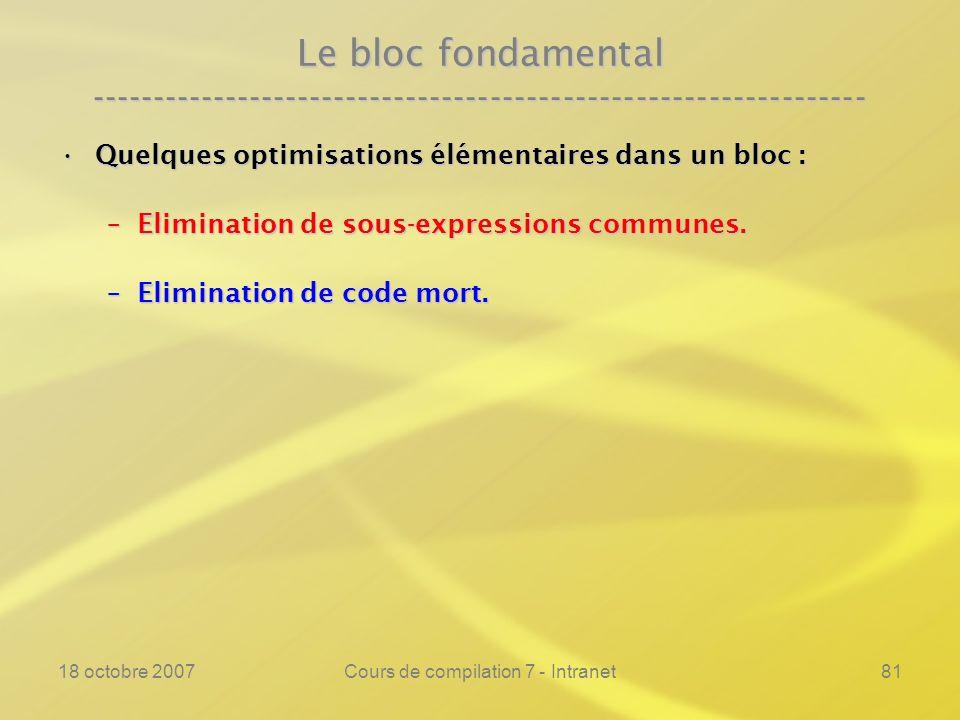 18 octobre 2007Cours de compilation 7 - Intranet81 Le bloc fondamental ---------------------------------------------------------------- Quelques optimisations élémentaires dans un bloc :Quelques optimisations élémentaires dans un bloc : –Elimination de sous-expressions communes.