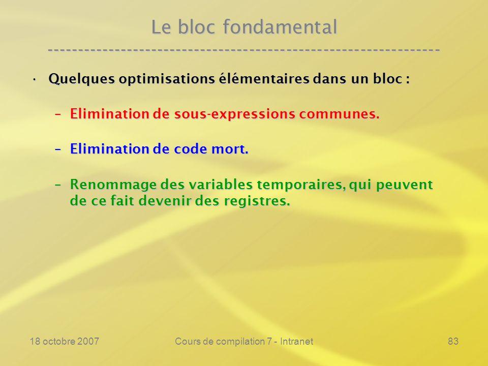 18 octobre 2007Cours de compilation 7 - Intranet83 Le bloc fondamental ---------------------------------------------------------------- Quelques optimisations élémentaires dans un bloc :Quelques optimisations élémentaires dans un bloc : –Elimination de sous-expressions communes.
