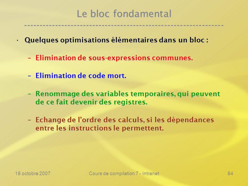 18 octobre 2007Cours de compilation 7 - Intranet84 Le bloc fondamental ---------------------------------------------------------------- Quelques optimisations élémentaires dans un bloc :Quelques optimisations élémentaires dans un bloc : –Elimination de sous-expressions communes.