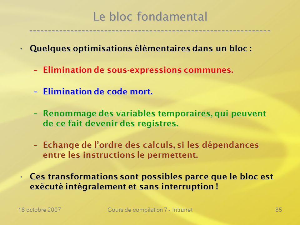 18 octobre 2007Cours de compilation 7 - Intranet85 Le bloc fondamental ---------------------------------------------------------------- Quelques optimisations élémentaires dans un bloc :Quelques optimisations élémentaires dans un bloc : –Elimination de sous-expressions communes.