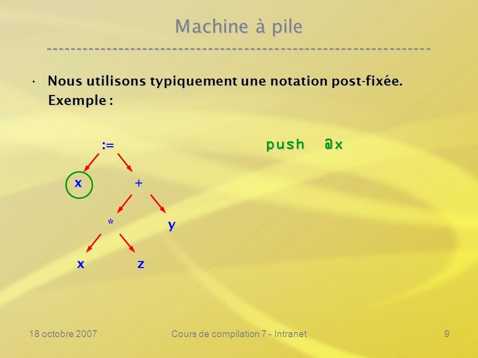 18 octobre 2007Cours de compilation 7 - Intranet9 Machine à pile ---------------------------------------------------------------- Nous utilisons typiquement une notation post-fixée.Nous utilisons typiquement une notation post-fixée.