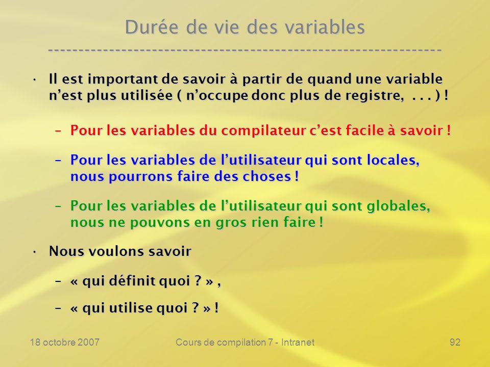 18 octobre 2007Cours de compilation 7 - Intranet92 Durée de vie des variables ---------------------------------------------------------------- Il est important de savoir à partir de quand une variable nest plus utilisée ( noccupe donc plus de registre,...