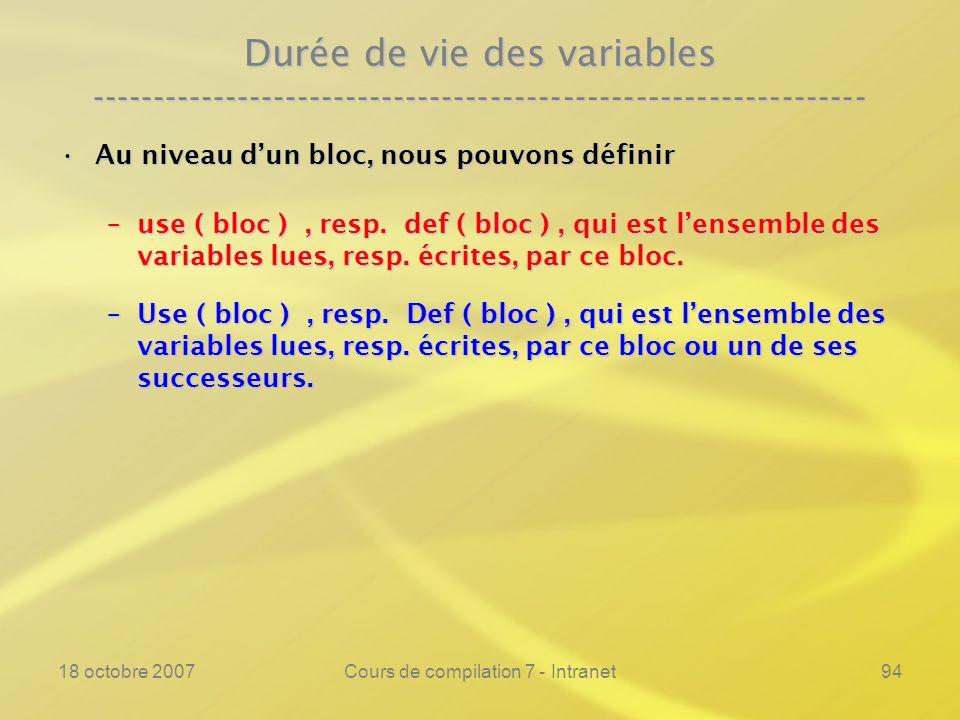 18 octobre 2007Cours de compilation 7 - Intranet94 Durée de vie des variables ---------------------------------------------------------------- Au niveau dun bloc, nous pouvons définirAu niveau dun bloc, nous pouvons définir –use ( bloc ), resp.