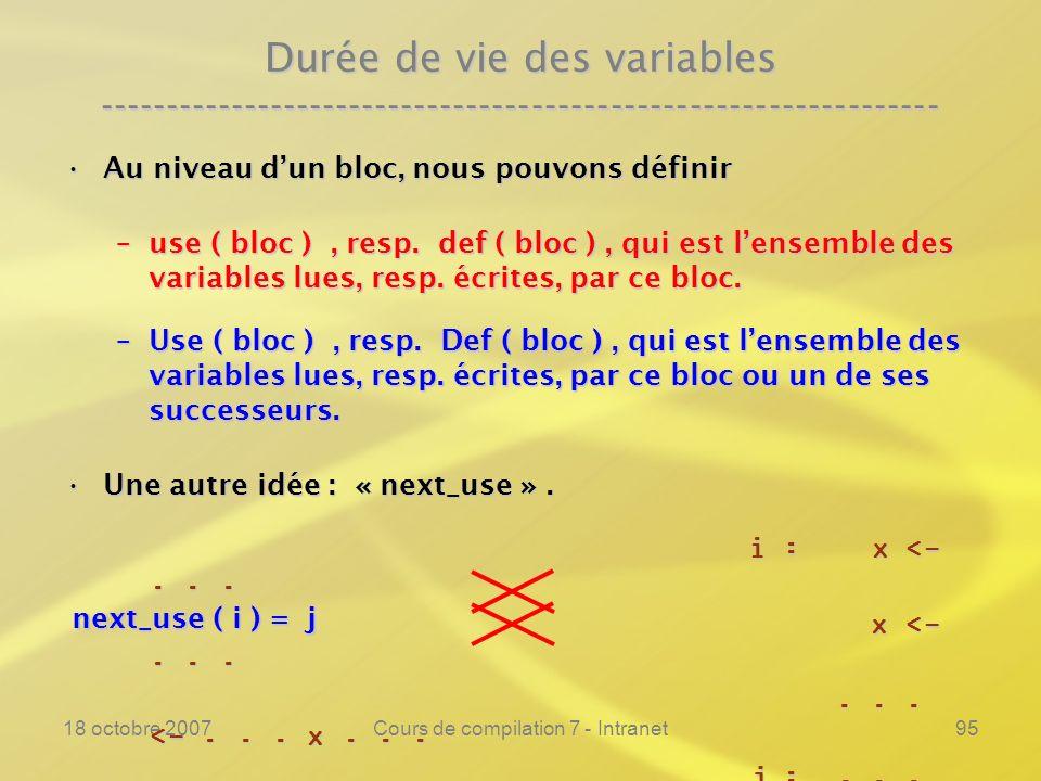 18 octobre 2007Cours de compilation 7 - Intranet95 Durée de vie des variables ---------------------------------------------------------------- Au niveau dun bloc, nous pouvons définirAu niveau dun bloc, nous pouvons définir –use ( bloc ), resp.
