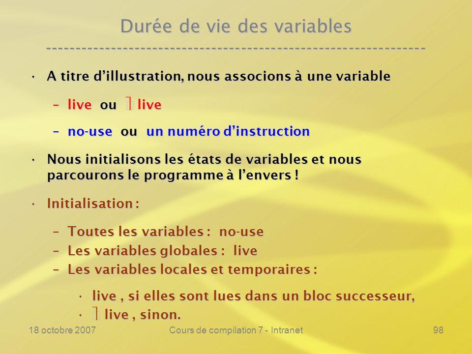 18 octobre 2007Cours de compilation 7 - Intranet98 Durée de vie des variables ---------------------------------------------------------------- A titre dillustration, nous associons à une variableA titre dillustration, nous associons à une variable –live ou live –no-use ou un numéro dinstruction Nous initialisons les états de variables et nous parcourons le programme à lenvers !Nous initialisons les états de variables et nous parcourons le programme à lenvers .