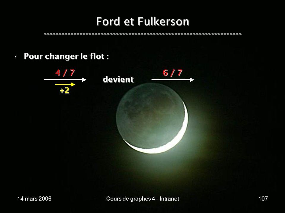 14 mars 2006Cours de graphes 4 - Intranet107 Ford et Fulkerson ----------------------------------------------------------------- Pour changer le flot