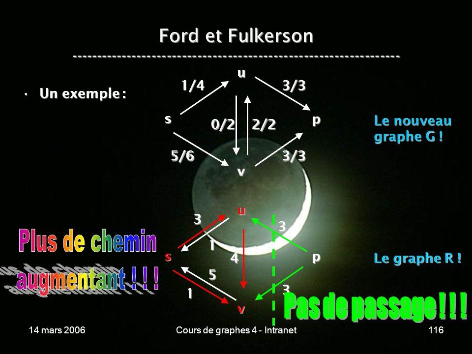 14 mars 2006Cours de graphes 4 - Intranet116 Ford et Fulkerson ----------------------------------------------------------------- Un exemple :Un exempl