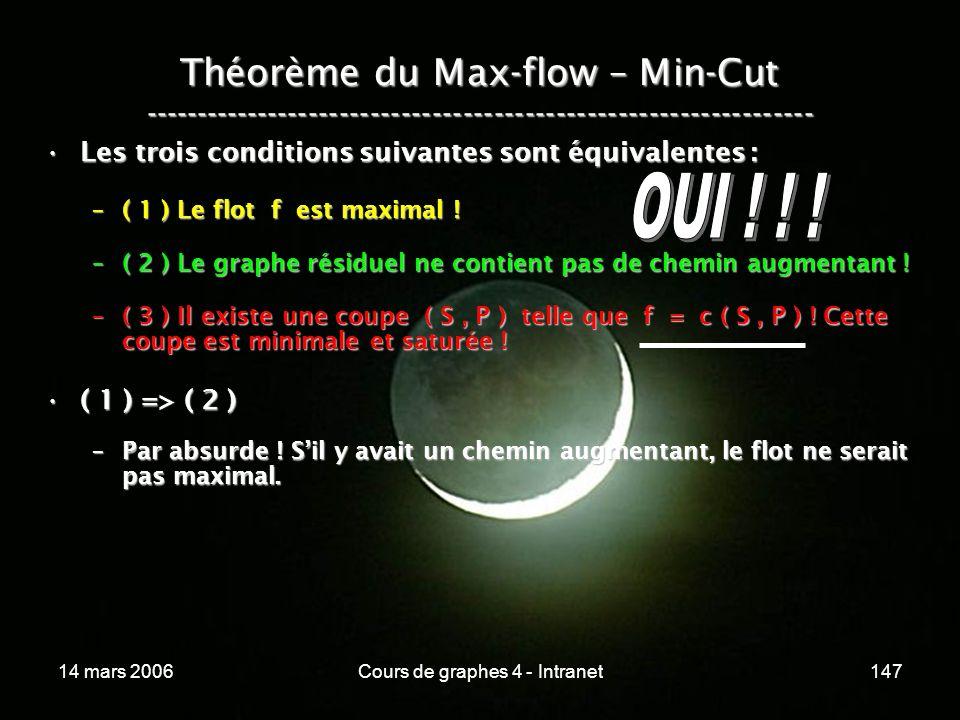 14 mars 2006Cours de graphes 4 - Intranet147 Théorème du Max-flow – Min-Cut ----------------------------------------------------------------- Les troi