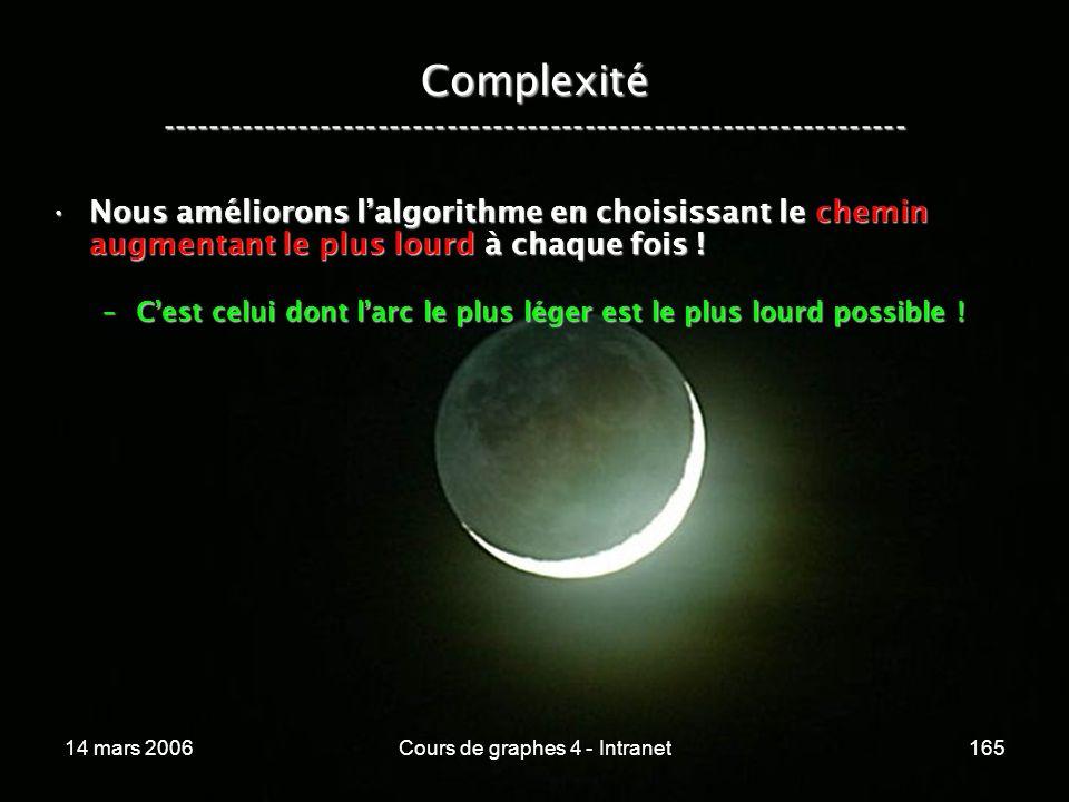 14 mars 2006Cours de graphes 4 - Intranet165 Complexité ----------------------------------------------------------------- Nous améliorons lalgorithme