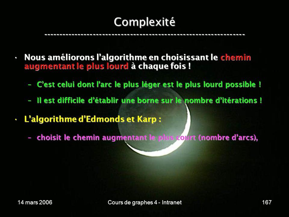 14 mars 2006Cours de graphes 4 - Intranet167 Complexité ----------------------------------------------------------------- Nous améliorons lalgorithme