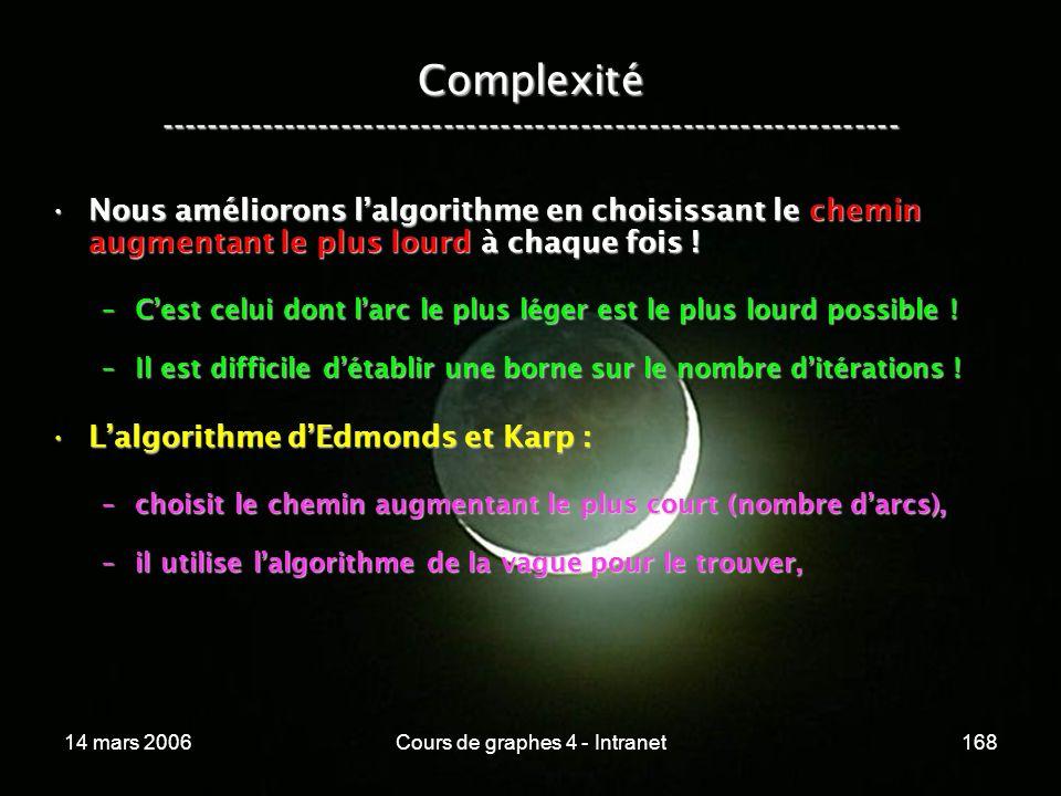 14 mars 2006Cours de graphes 4 - Intranet168 Complexité ----------------------------------------------------------------- Nous améliorons lalgorithme