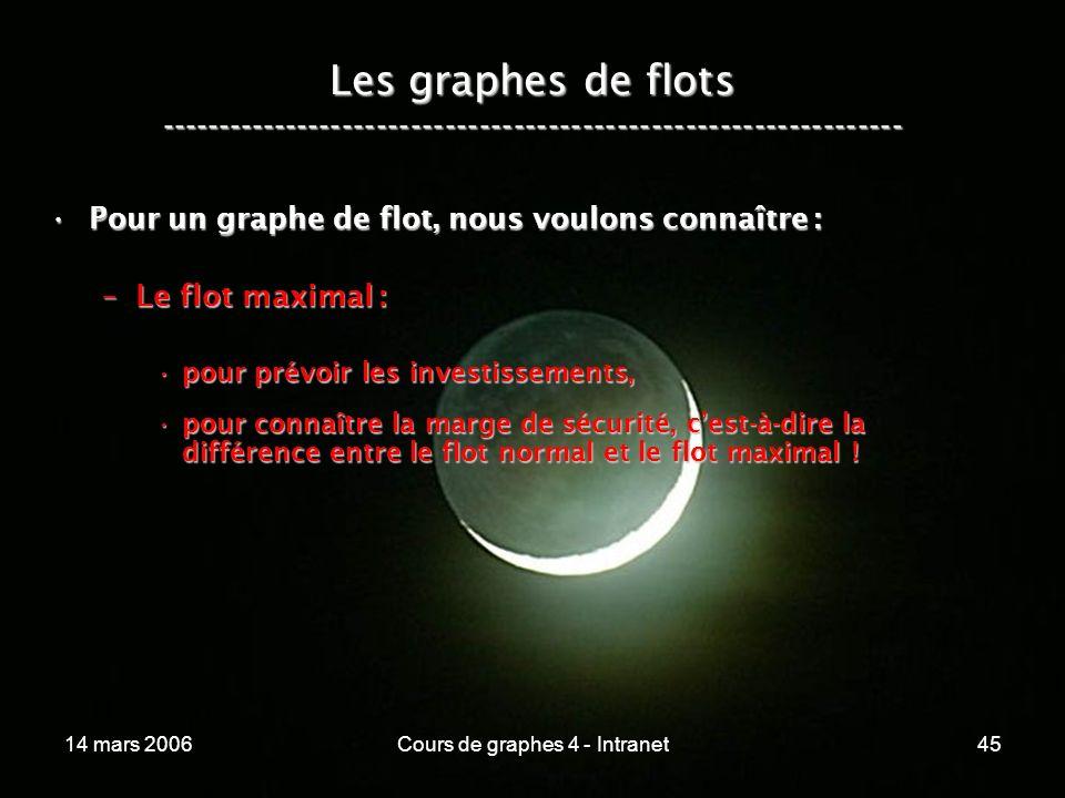 14 mars 2006Cours de graphes 4 - Intranet45 Pour un graphe de flot, nous voulons connaître :Pour un graphe de flot, nous voulons connaître : –Le flot