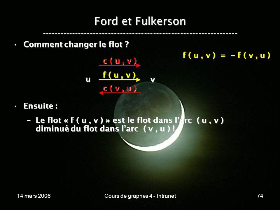 14 mars 2006Cours de graphes 4 - Intranet74 Ford et Fulkerson ----------------------------------------------------------------- Comment changer le flo