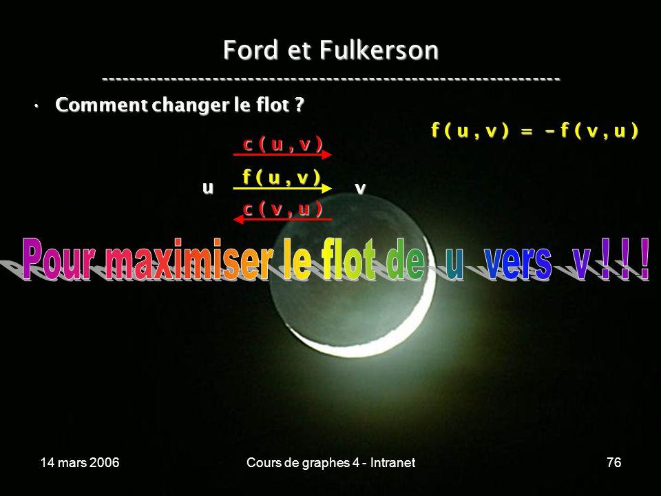 14 mars 2006Cours de graphes 4 - Intranet76 Ford et Fulkerson ----------------------------------------------------------------- Comment changer le flo