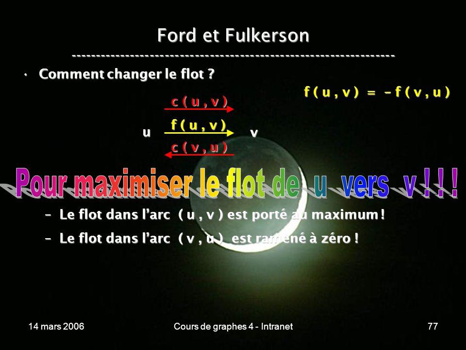 14 mars 2006Cours de graphes 4 - Intranet77 Ford et Fulkerson ----------------------------------------------------------------- Comment changer le flo