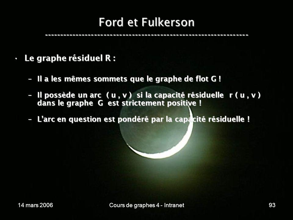 14 mars 2006Cours de graphes 4 - Intranet93 Ford et Fulkerson ----------------------------------------------------------------- Le graphe résiduel R :