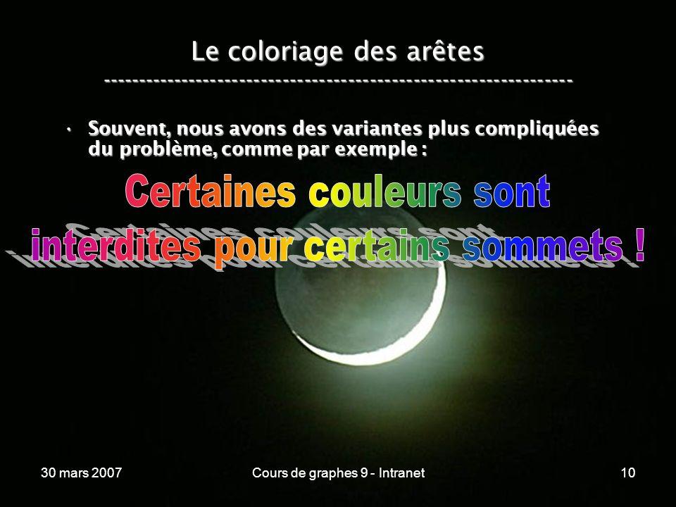 30 mars 2007Cours de graphes 9 - Intranet10 Le coloriage des arêtes ----------------------------------------------------------------- Souvent, nous av