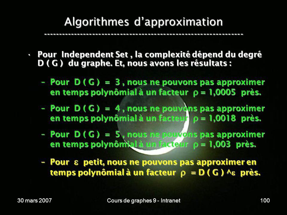 30 mars 2007Cours de graphes 9 - Intranet100 Algorithmes dapproximation ----------------------------------------------------------------- Pour Indepen