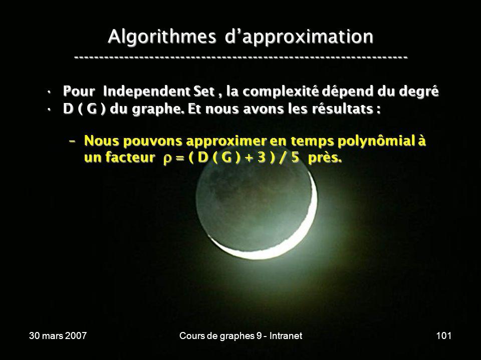 30 mars 2007Cours de graphes 9 - Intranet101 Algorithmes dapproximation ----------------------------------------------------------------- Pour Indepen