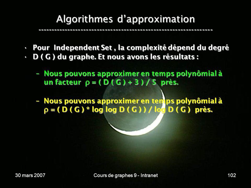 30 mars 2007Cours de graphes 9 - Intranet102 Algorithmes dapproximation ----------------------------------------------------------------- Pour Indepen