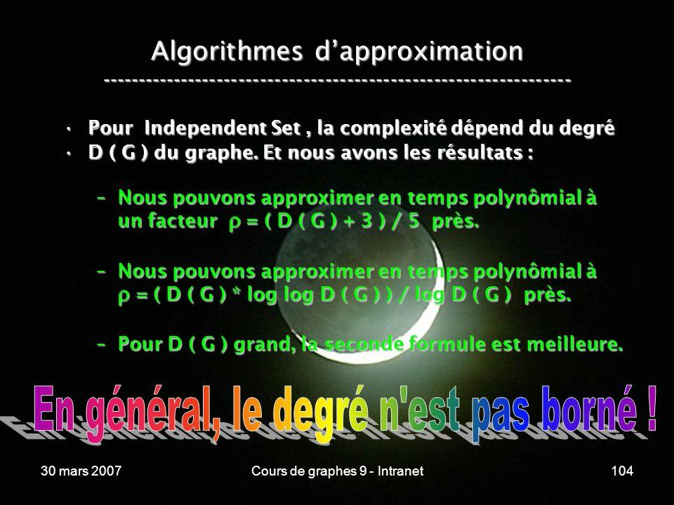 30 mars 2007Cours de graphes 9 - Intranet104 Algorithmes dapproximation ----------------------------------------------------------------- Pour Indepen