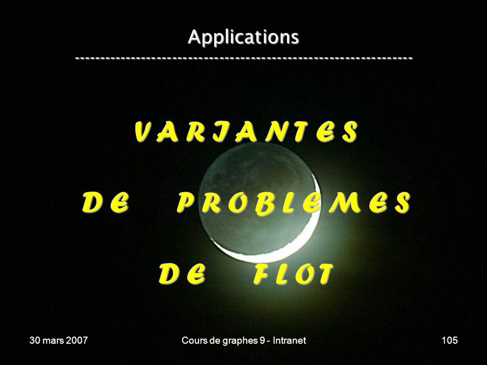 30 mars 2007Cours de graphes 9 - Intranet105 Applications ----------------------------------------------------------------- V A R I A N T E S D E P R