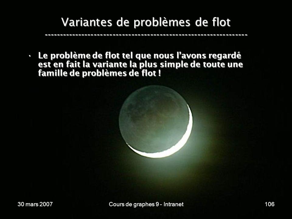 30 mars 2007Cours de graphes 9 - Intranet106 Variantes de problèmes de flot ----------------------------------------------------------------- Le probl