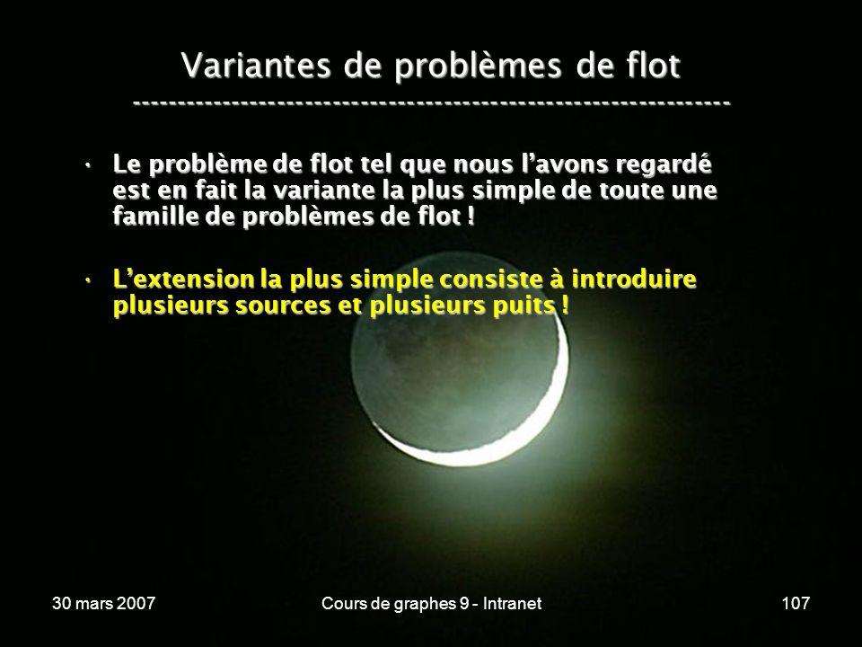 30 mars 2007Cours de graphes 9 - Intranet107 Variantes de problèmes de flot ----------------------------------------------------------------- Le probl