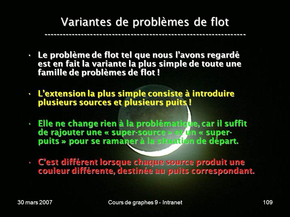 30 mars 2007Cours de graphes 9 - Intranet109 Variantes de problèmes de flot ----------------------------------------------------------------- Le probl