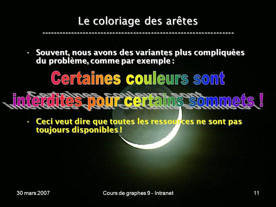 30 mars 2007Cours de graphes 9 - Intranet11 Le coloriage des arêtes ----------------------------------------------------------------- Souvent, nous av