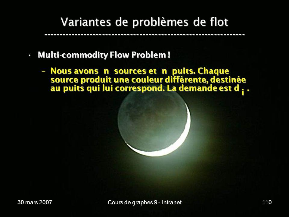 30 mars 2007Cours de graphes 9 - Intranet110 Variantes de problèmes de flot ----------------------------------------------------------------- Multi-co