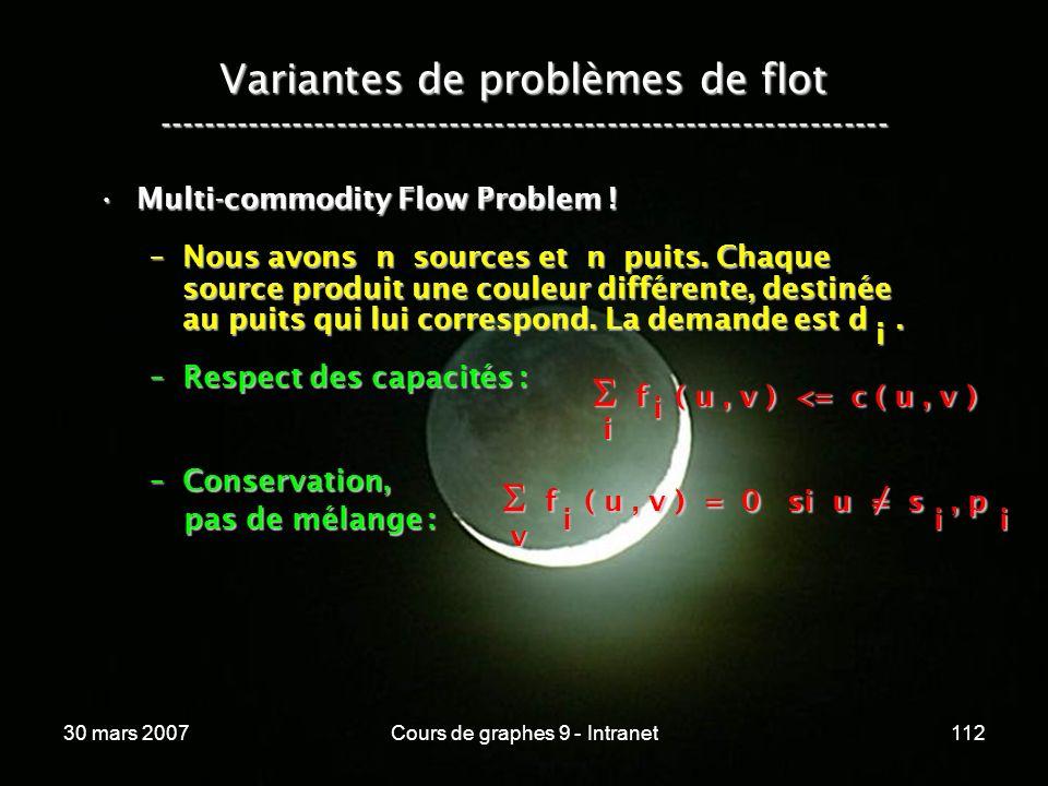 30 mars 2007Cours de graphes 9 - Intranet112 Variantes de problèmes de flot ----------------------------------------------------------------- Multi-co