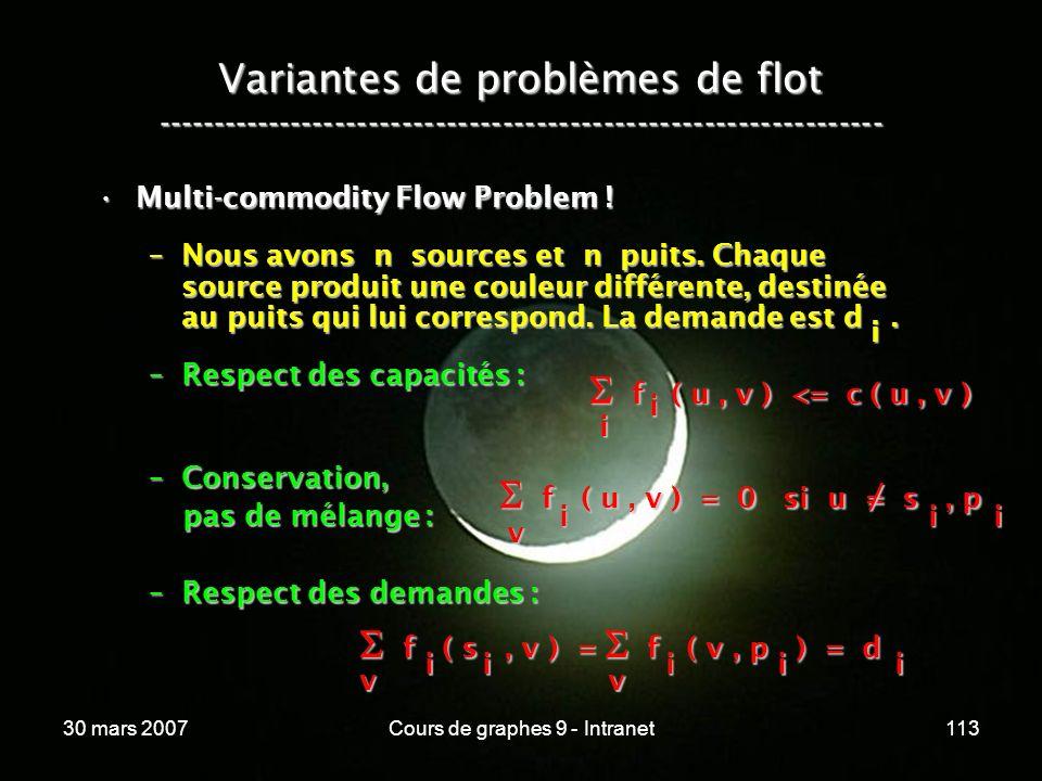 30 mars 2007Cours de graphes 9 - Intranet113 Variantes de problèmes de flot ----------------------------------------------------------------- Multi-co