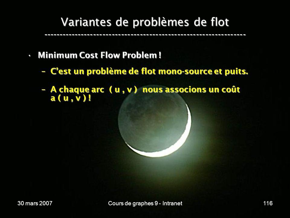 30 mars 2007Cours de graphes 9 - Intranet116 Variantes de problèmes de flot ----------------------------------------------------------------- Minimum