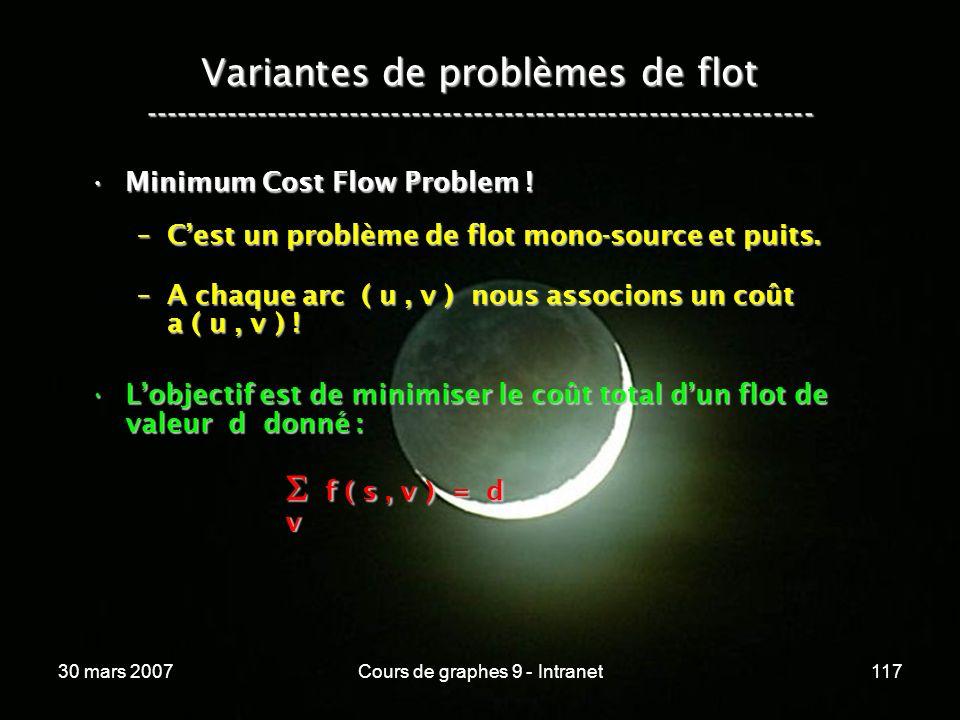 30 mars 2007Cours de graphes 9 - Intranet117 Variantes de problèmes de flot ----------------------------------------------------------------- Minimum