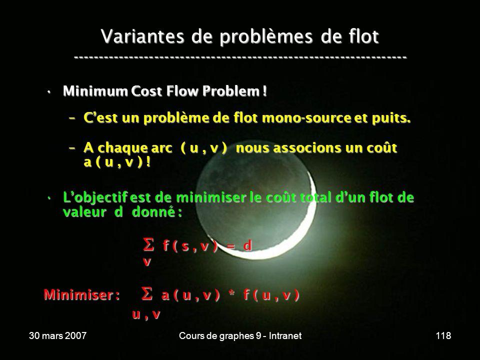 30 mars 2007Cours de graphes 9 - Intranet118 Variantes de problèmes de flot ----------------------------------------------------------------- Minimum