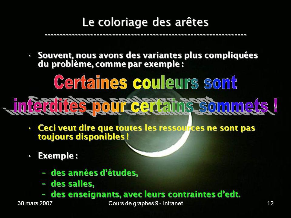 30 mars 2007Cours de graphes 9 - Intranet12 Le coloriage des arêtes ----------------------------------------------------------------- Souvent, nous av