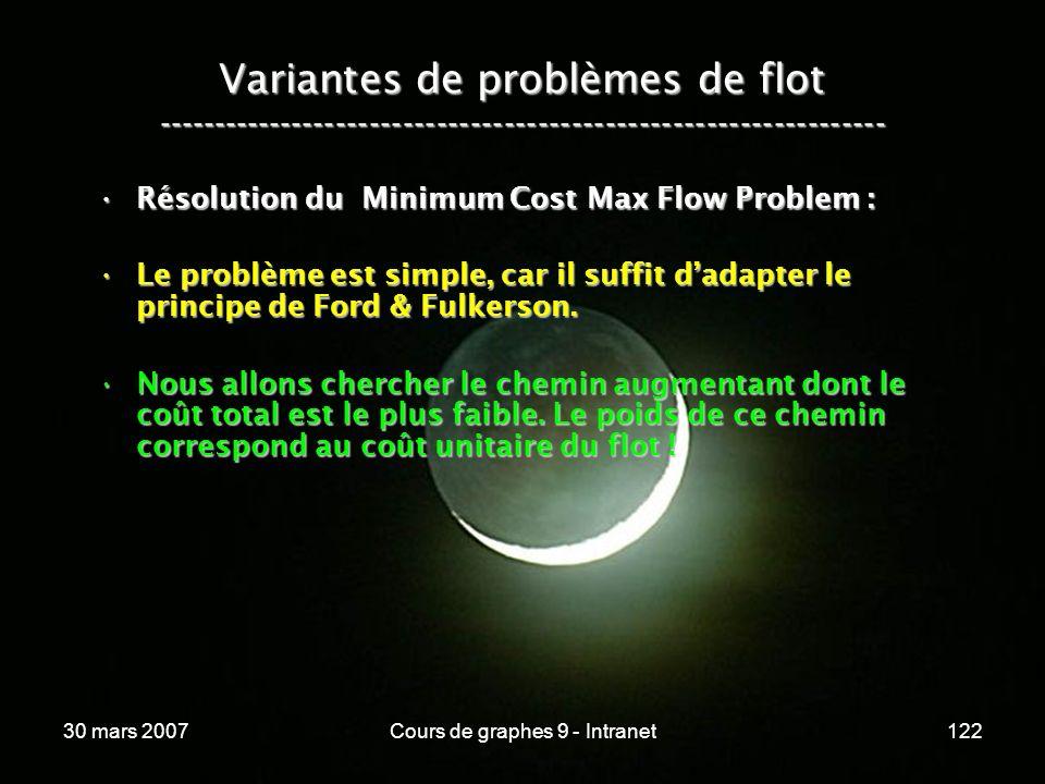 30 mars 2007Cours de graphes 9 - Intranet122 Variantes de problèmes de flot ----------------------------------------------------------------- Résoluti