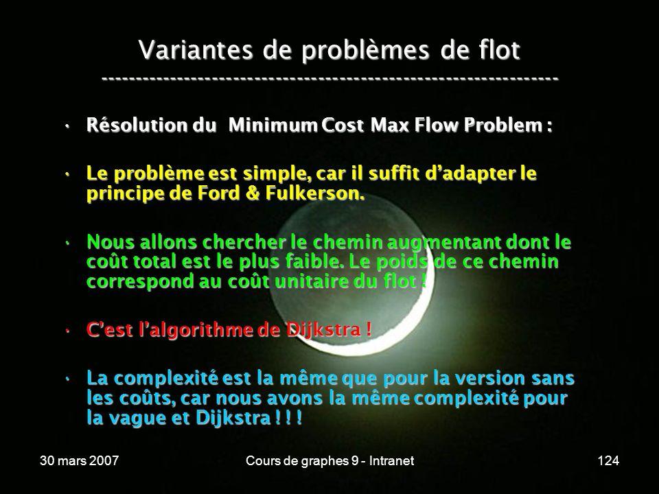 30 mars 2007Cours de graphes 9 - Intranet124 Variantes de problèmes de flot ----------------------------------------------------------------- Résoluti