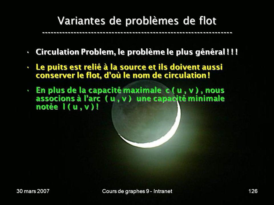 30 mars 2007Cours de graphes 9 - Intranet126 Variantes de problèmes de flot ----------------------------------------------------------------- Circulat