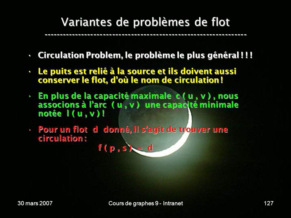 30 mars 2007Cours de graphes 9 - Intranet127 Variantes de problèmes de flot ----------------------------------------------------------------- Circulat