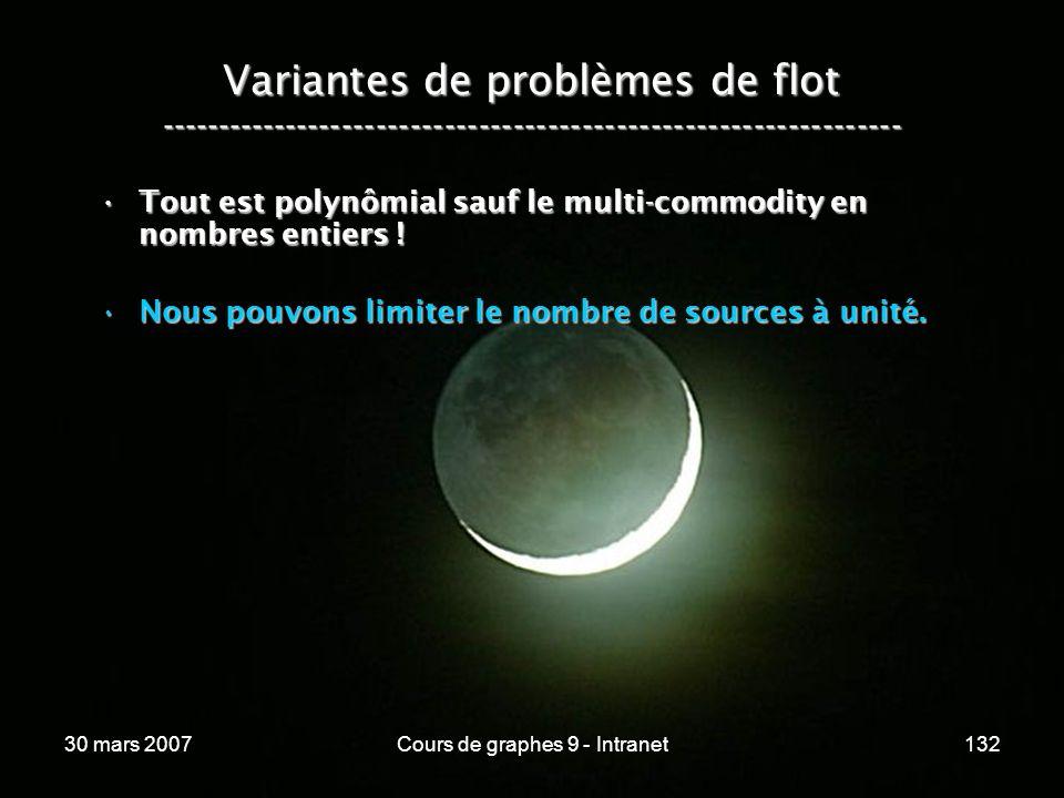 30 mars 2007Cours de graphes 9 - Intranet132 Variantes de problèmes de flot ----------------------------------------------------------------- Tout est